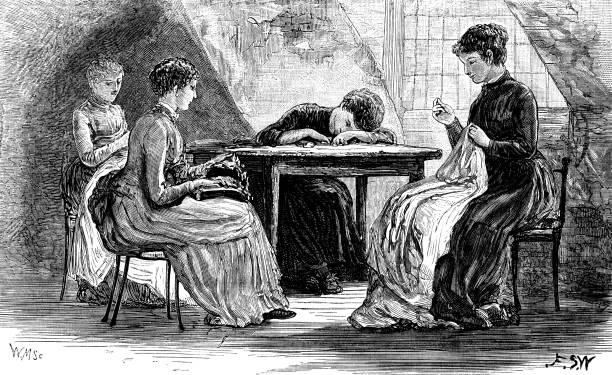 illustrazioni stock, clip art, cartoni animati e icone di tendenza di four victorian women sewing in an attic - tailor working