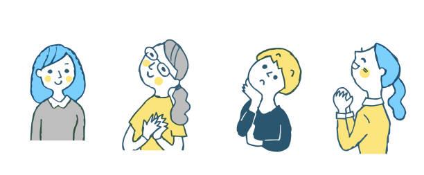 ilustrações de stock, clip art, desenhos animados e ícones de four women with various expressions - mão no peito
