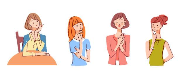様々な表情を持つ4人の女性 - 主婦 日本人点のイラスト素材/クリップアート素材/マンガ素材/アイコン素材