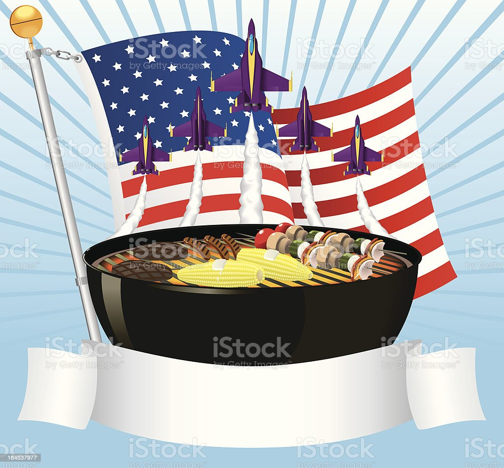 Fourth of July Barbecue and Air Show Celebration royalty-free stock vector art