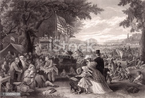 Vintage illustration features a large gathering of people picnicking, playing games, and enjoying the Independence Day celebration outdoors among large trees and an open lawn.
