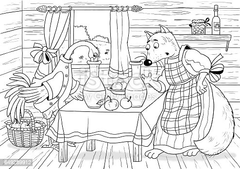 Fox And Stork Fairy Tale Illustration For Children Funny