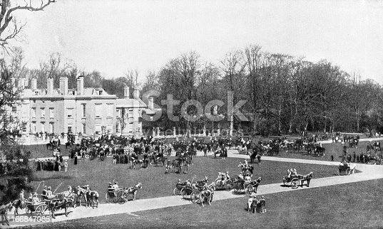 Fox Hunting Meet with the Pytchley Hounds at Althorp in Northamptonshire, England. Vintage etching circa late 19th century.