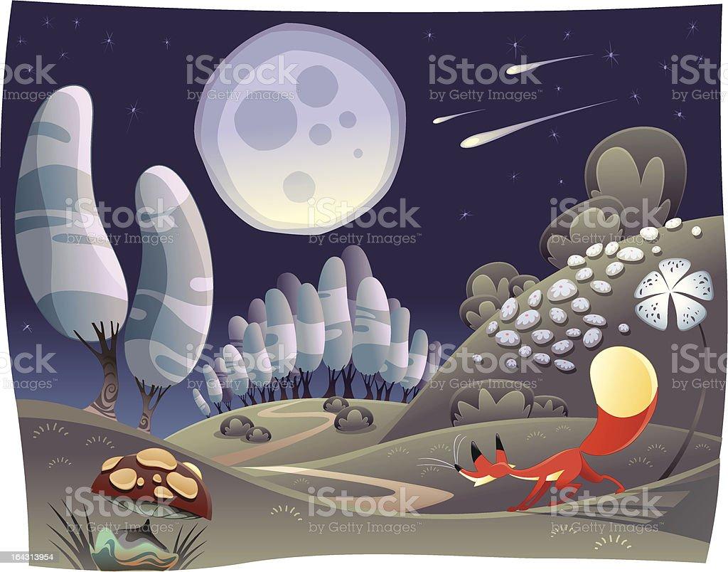 Fox in the night. royalty-free stock vector art