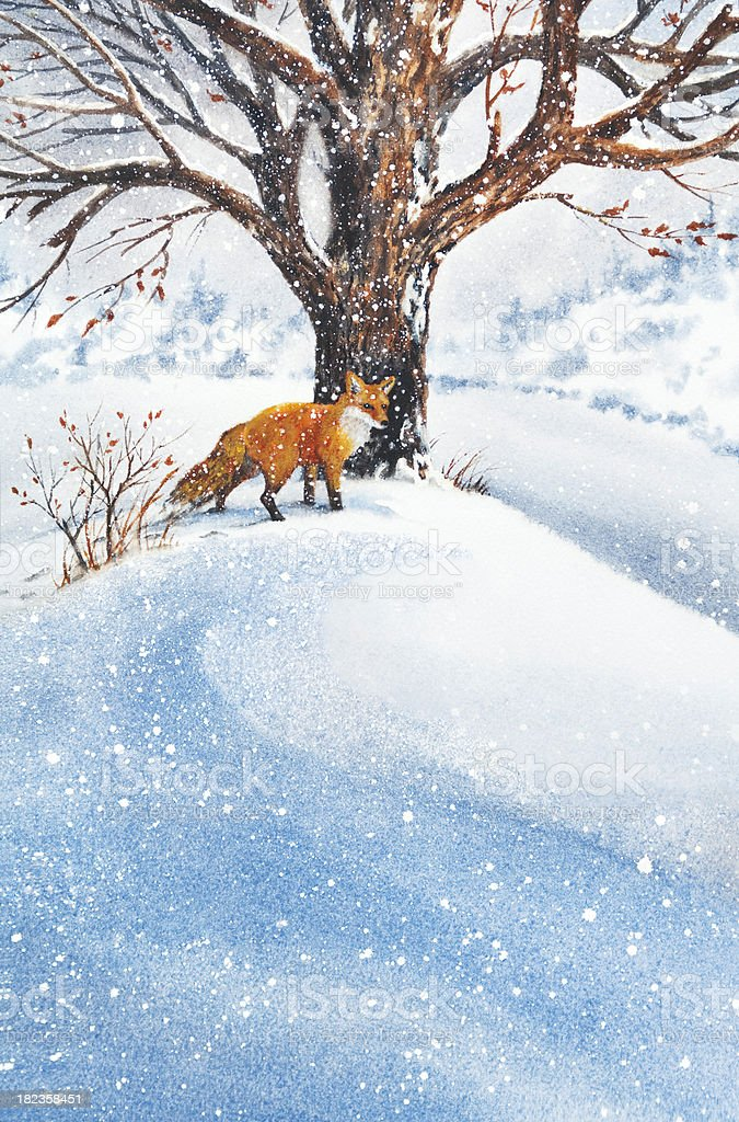 Fox In The Snow vector art illustration