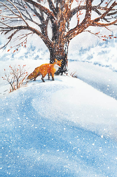 Fox In The Snow vector art illustration