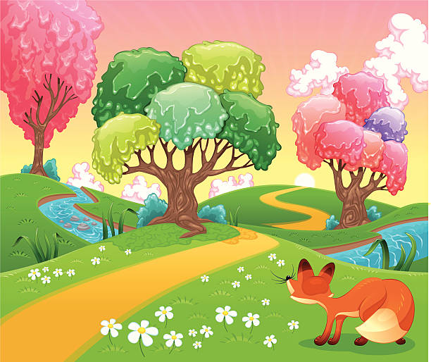 Fox in the wood. Fox in the wood. Funny cartoon and vector scene. Isolated objects temperate flower stock illustrations