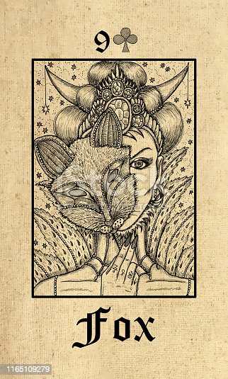 Fox. Tarot card from Lenormand Gothic Mysteries oracle deck.