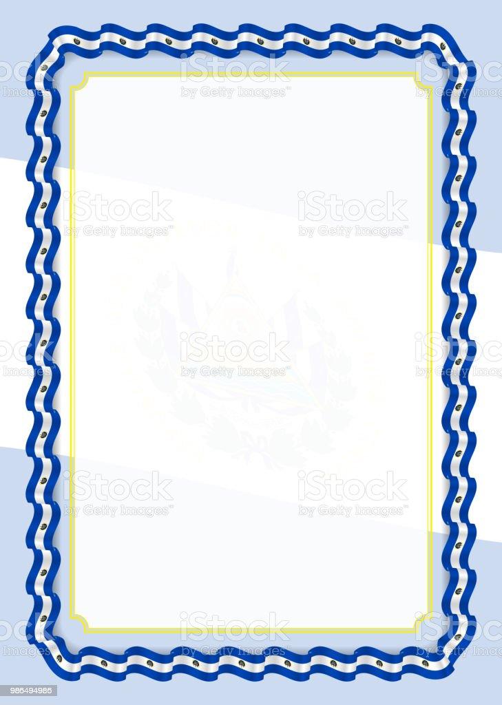 Ilustración de Marco Y Borde De Cinta Con La Bandera Del Salvador ...