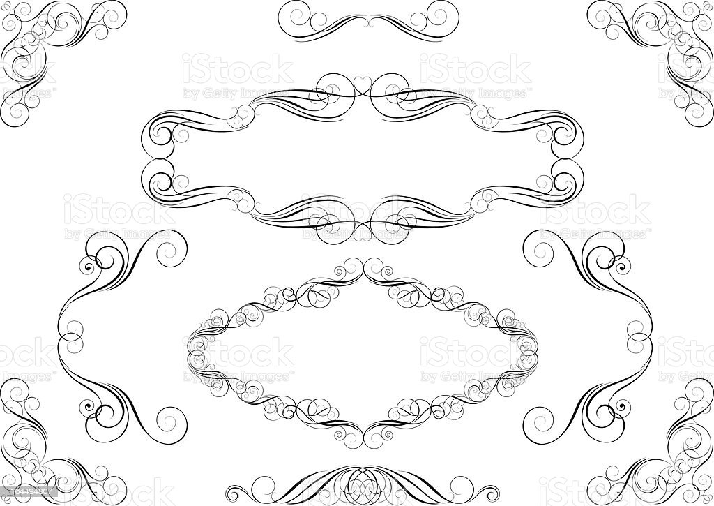 Frame and corner set royalty-free stock vector art