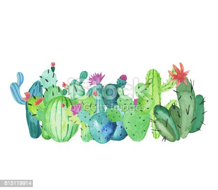 Frame Border Made Of Handdrawn Watercolor Cactus Plants
