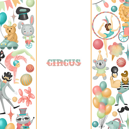 Frame, card template with hand drawn circus actors, animals and elements of circus or amusement park; kids birthday card design, baby shower or flyer for show