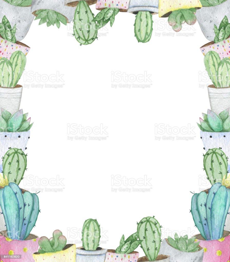 Ilustración de Marco Hecho De Mano Acuarela Cactus Y Plantas ...