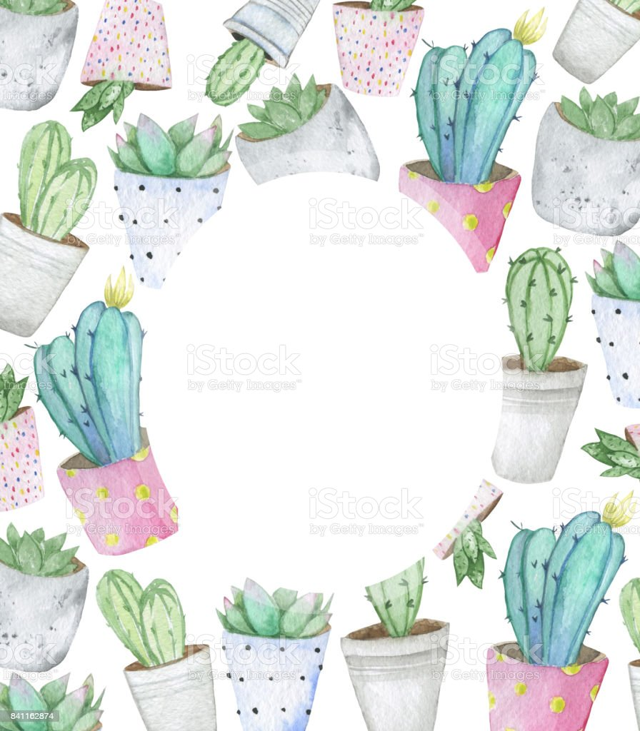 Frame Made Of Handdrawn Watercolor Cactus And Succulent Plants In ...