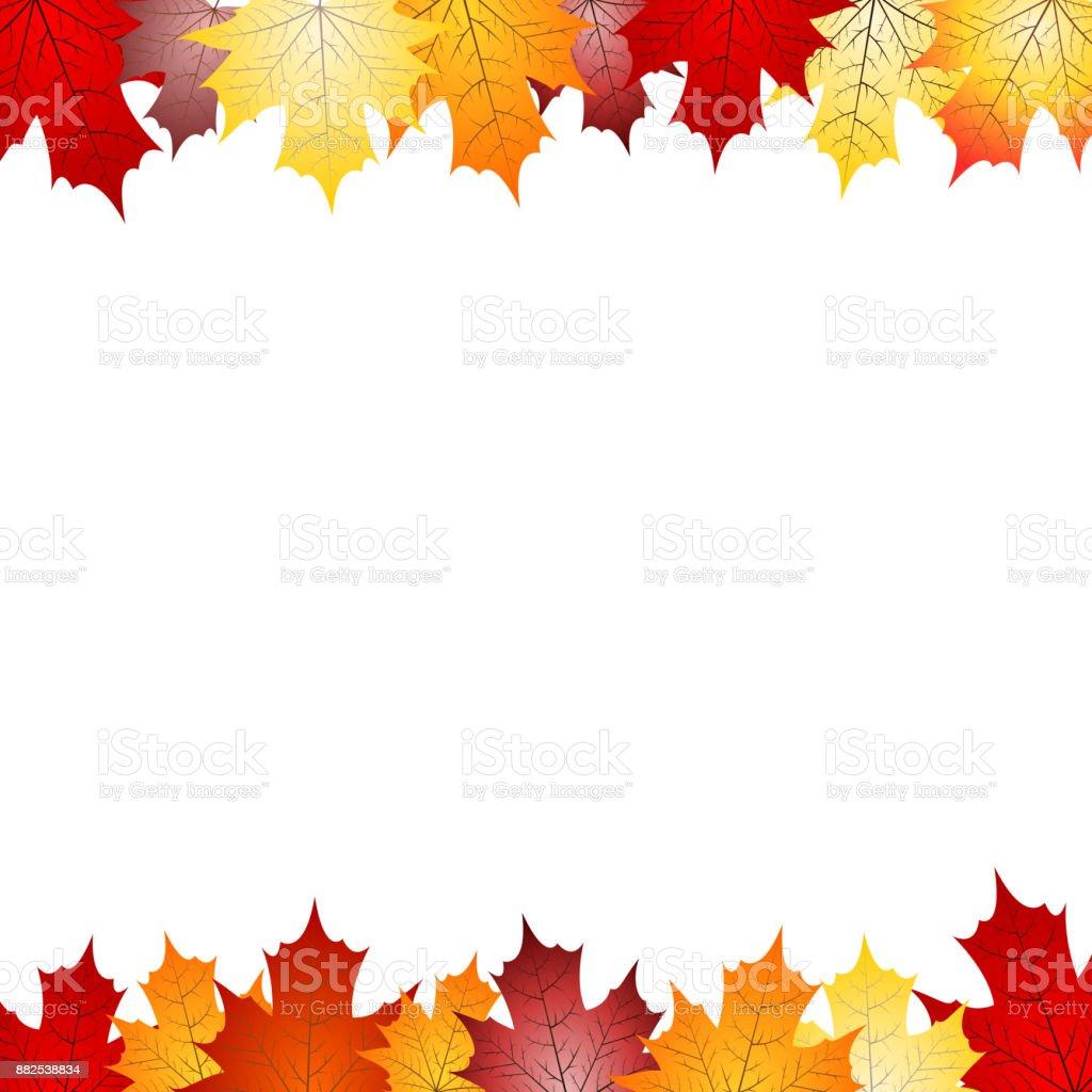 Frame made out of leaves vector art illustration