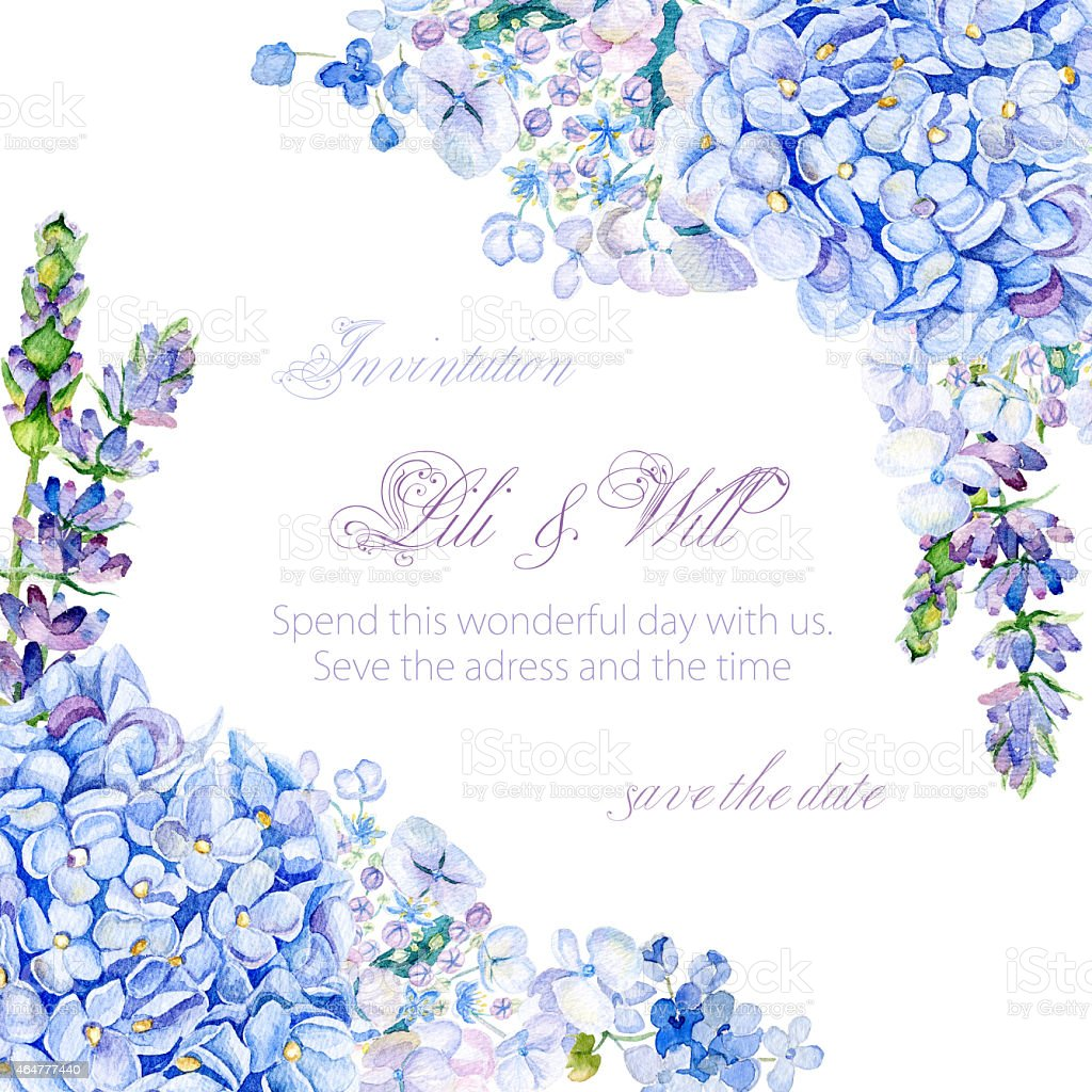 Frame of watercolor blue hydrangea, lavender. vector art illustration