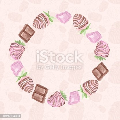 istock A frame of watercolor illustrations, chocolate-covered strawberries and pieces of milky dark brown and pink chocolate, a circle on a patterned background 1324324331