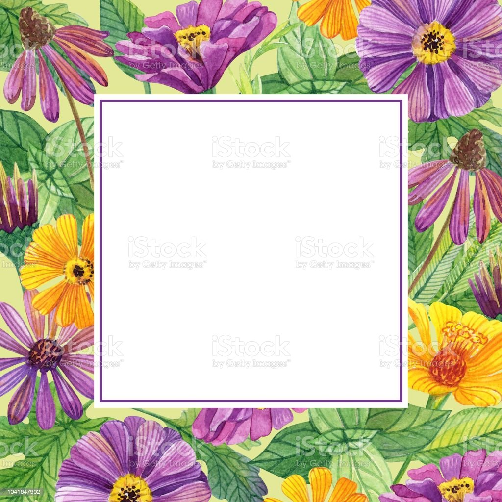 Frame Of Yellow And Purple Flowers Stock Vector Art More Images Of