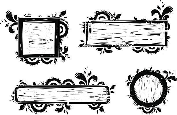 stockillustraties, clipart, cartoons en iconen met frame set - houtgravure