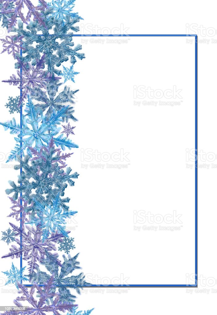 frame template decorated with snowflake border stock vector art