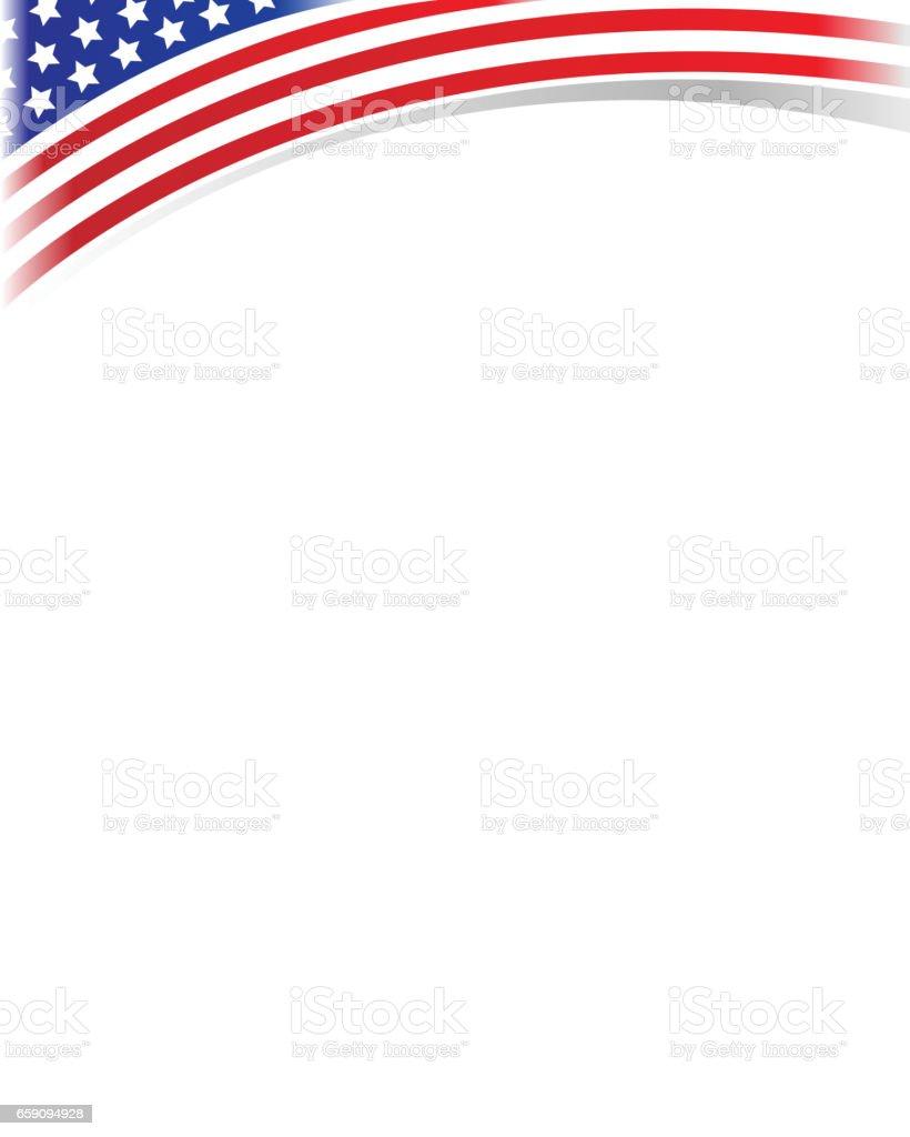Frame wave USA flag vector art illustration