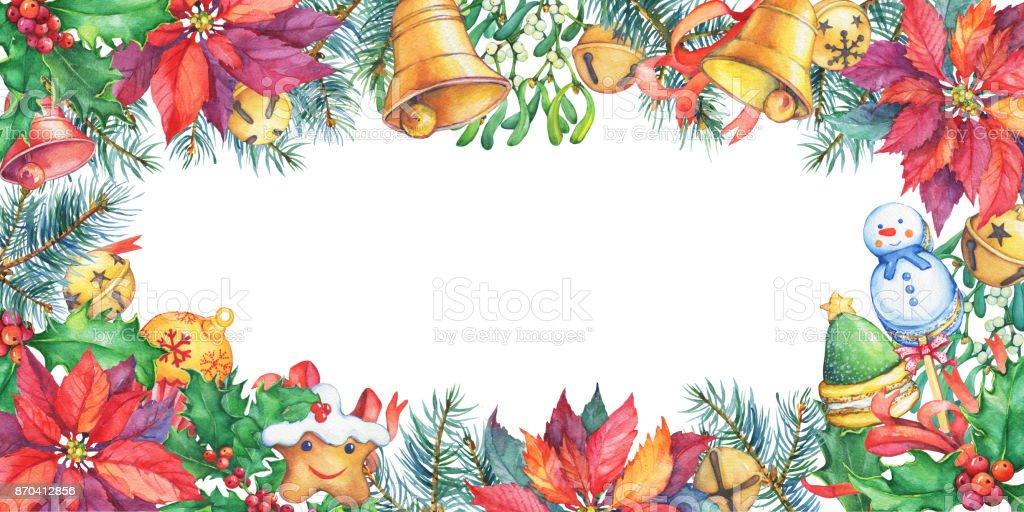 Ilustración de Marco Con árbol De Navidad Poinsettia Bayas De Acebo ...