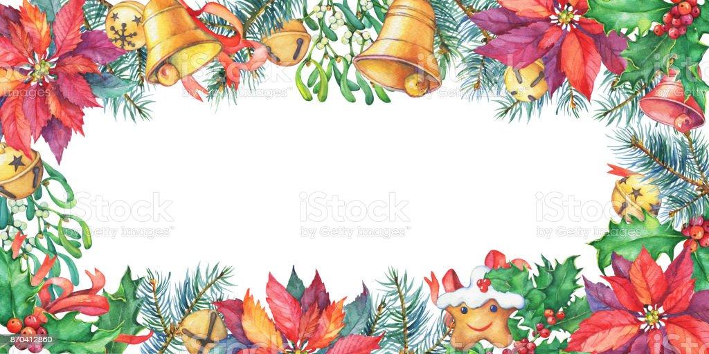 Marco Con árbol De Navidad Poinsettia Bayas De Acebo Campana ...