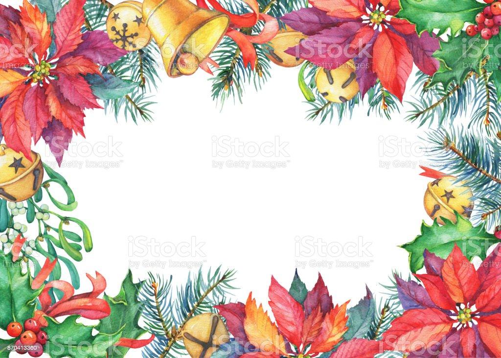 Marcos Para Fotos De Arbol De Navidad.Ilustracion De Marco Con Arbol De Navidad Flor De Pascua