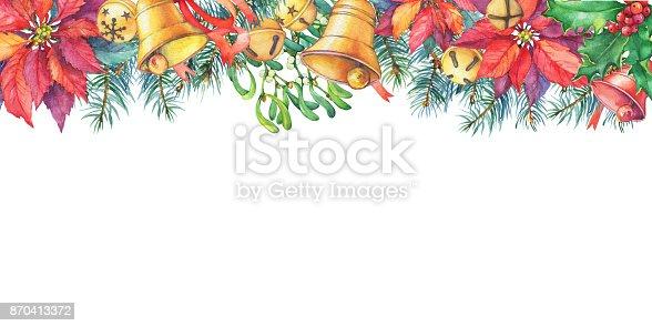 Frame with christmas tree poinsettia holly bell christmas for Poinsettia christmas tree frame