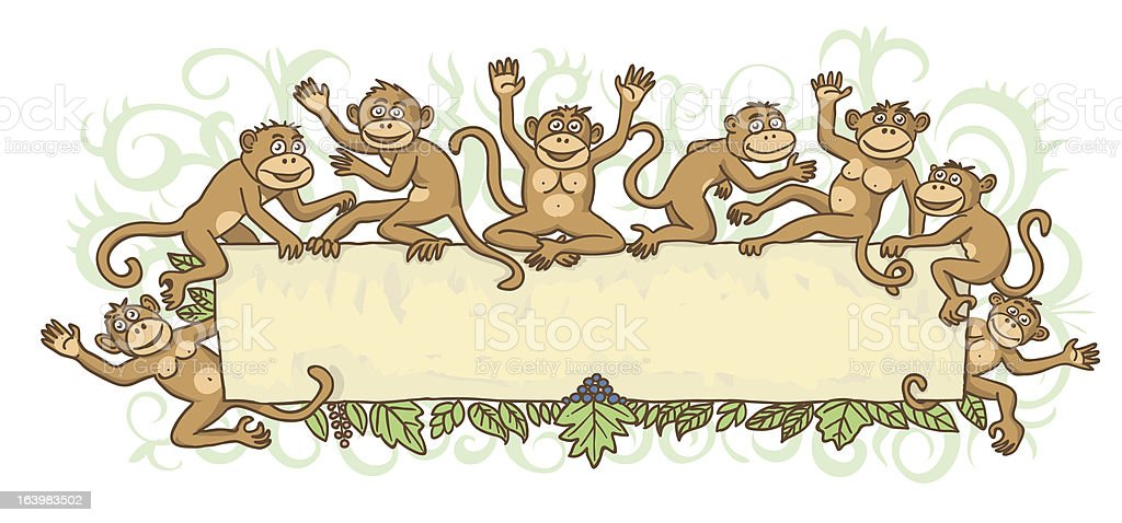 Frame with monkeys royalty-free stock vector art