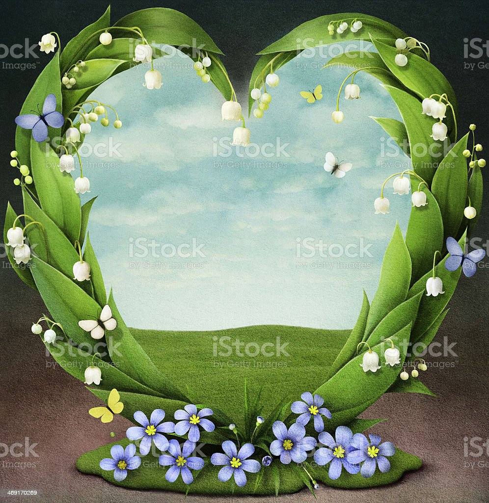 Frame with spring flowers in shape of heart royalty-free stock vector art