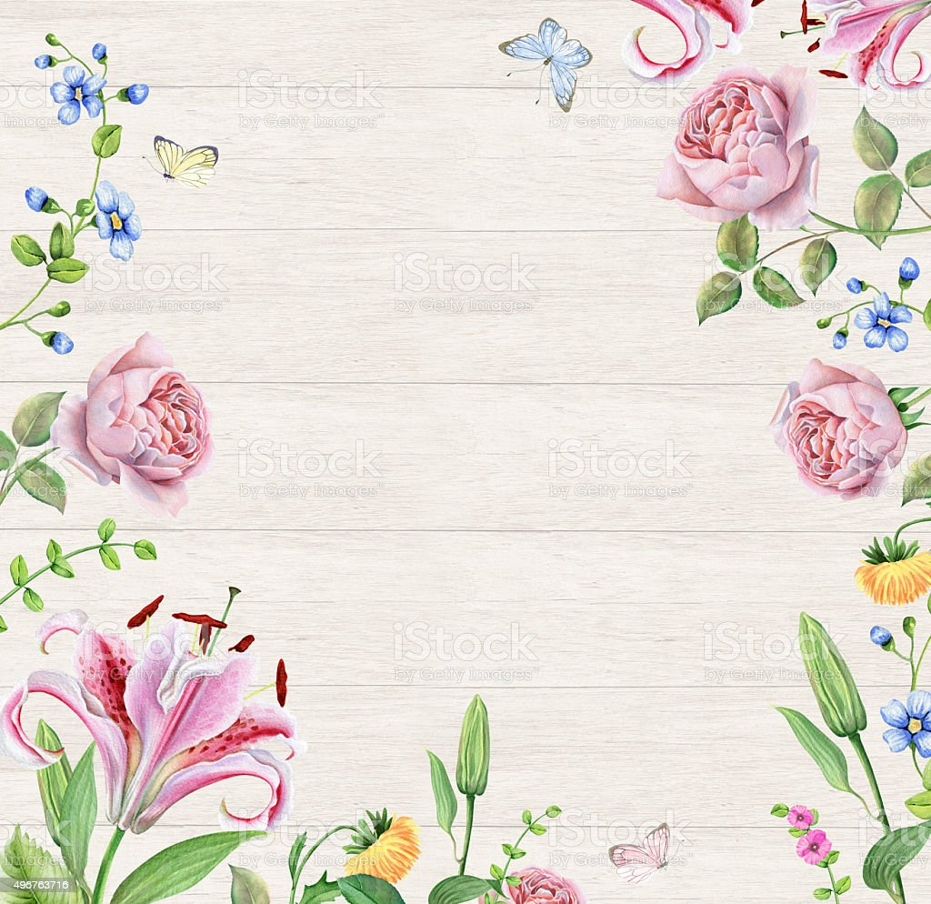 frame with watercolor flowers on wooden background stock