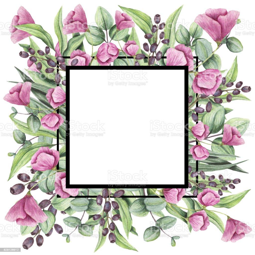 Rahmen Mit Aquarell Rosa Blüten Grüne Blätter Und Violette Beeren ...