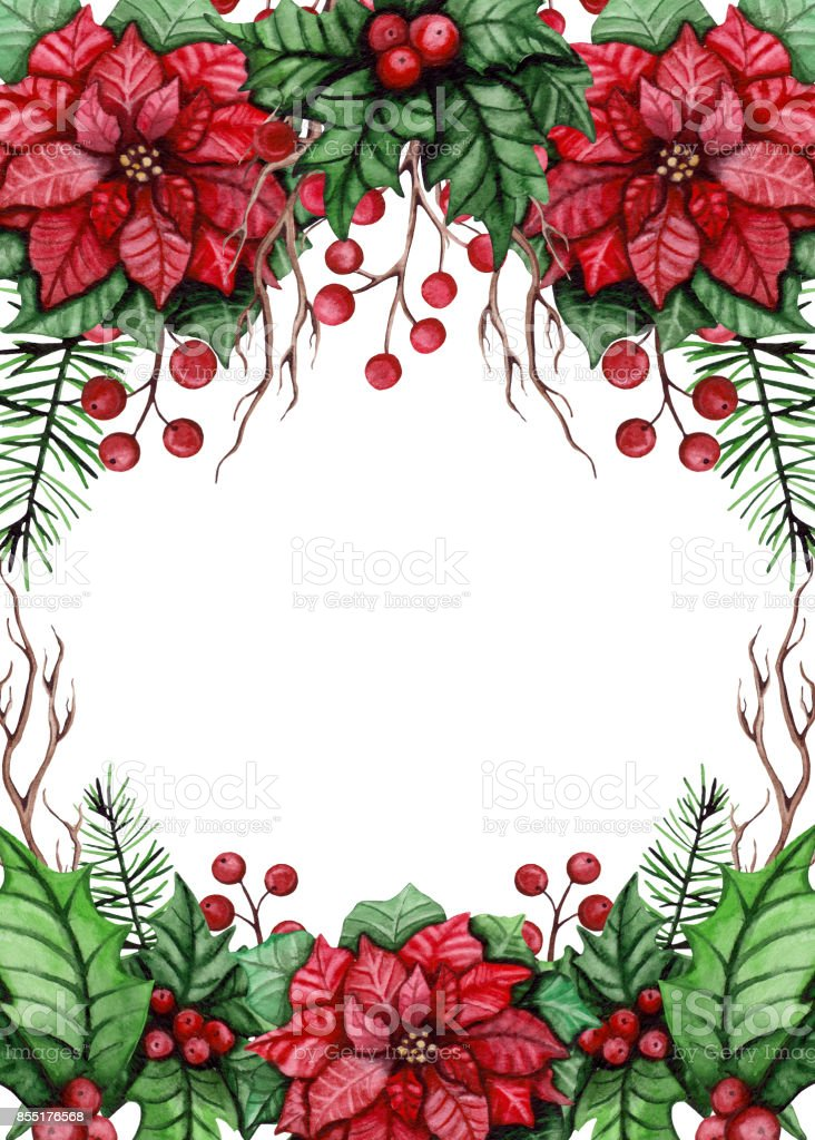 Frame with watercolor red berries branches and poinsettia for Poinsettia christmas tree frame