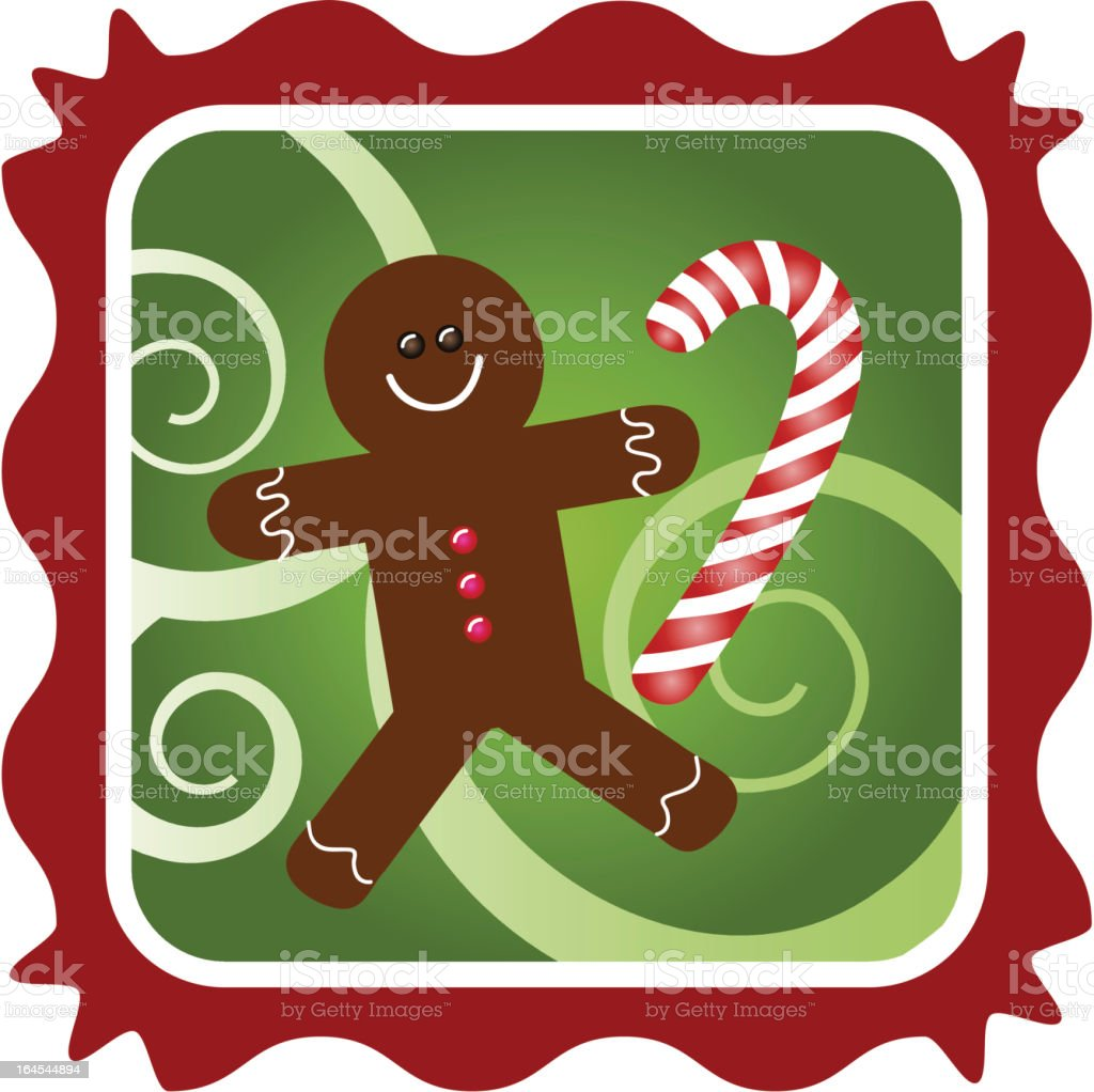 Framed ginger bread man with candy cane royalty-free stock vector art