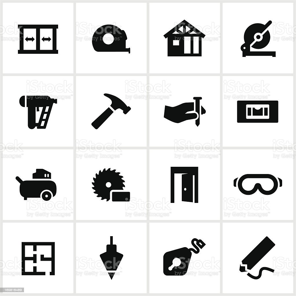 Framing and Construction Icons vector art illustration