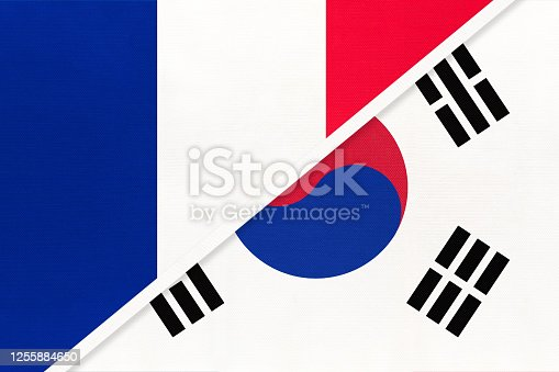 istock France and South Korea or ROK, symbol of national flags from textile. Championship between two countries. 1255884650