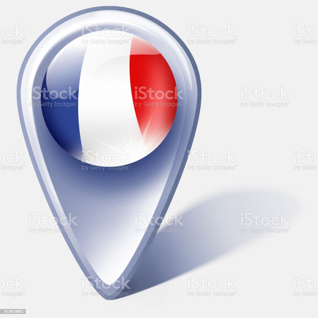 France button map pointer with french flag isolated on white vector art illustration