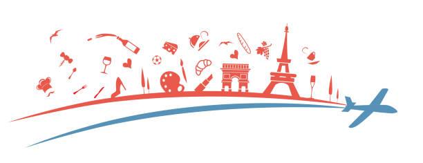 france flag symbol element with aeroplane. illustration vector art illustration