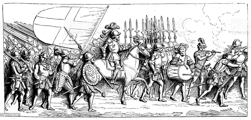 France, infantry on the march, drawing after relief on the tomb of King Francis I (died 1547) vector art illustration