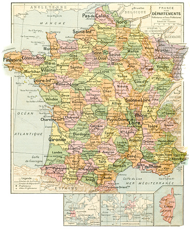France prefectures and sub prefectures map 1887