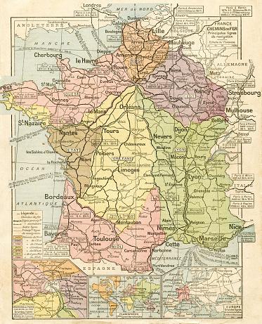 France railways system map 1887