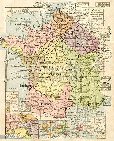 Map from La Premiere Annee  de Geographie par P. Foncin - Paris 1887
