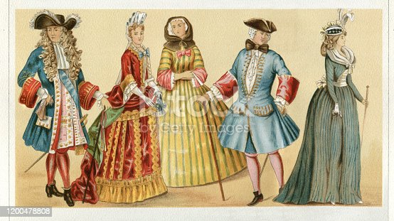 istock France traditional clothing Louis XIV 17th century 1200478808