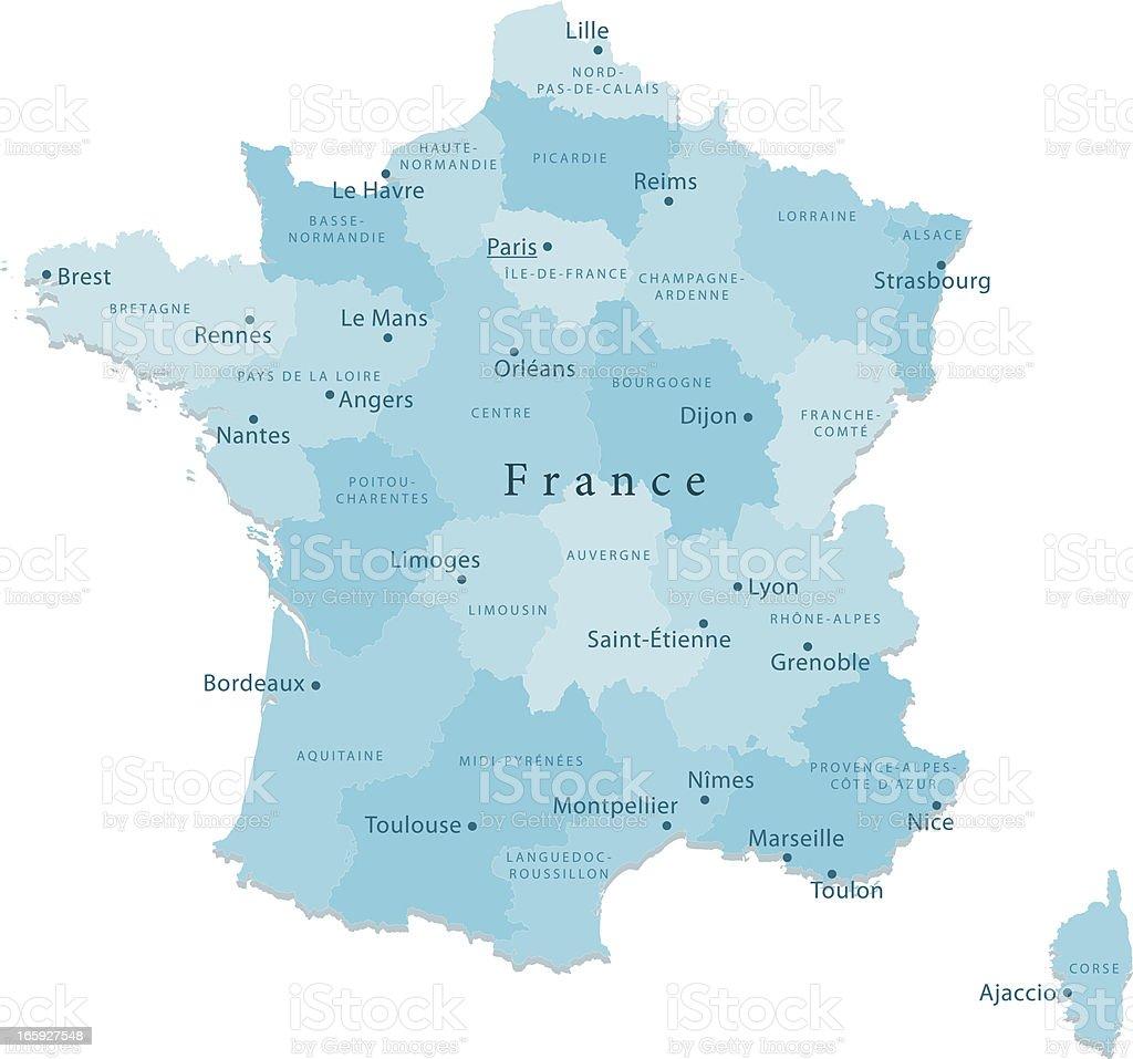 France Carte de vecteur de régions isolées - Illustration vectorielle