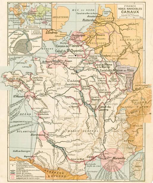 illustrations, cliparts, dessins animés et icônes de carte de france waterways 1887 - nantes