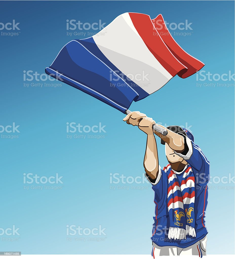 France Waving Flag Soccer Fan royalty-free stock vector art