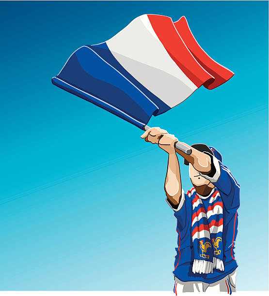 """France Waving Flag Soccer Fan """"Vector Illustration of a French soccer fan. The background is on a separate layer, you can use the illustration on your own background. Colors in the .eps and .ai-files are ready for print (CMYK). Included: EPS (v8), AI (CS2) and Hi-Res JPG."""" soccer stock illustrations"""