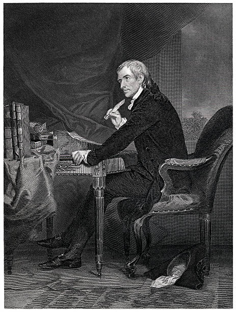 Francis Hopkinson Engraving From 1867 Featuring The American Author And A Signer Of The Declaration Of Independence, Francis Hopkinson.  Hopkinson Lived From 1737 Until 1791. declaration of independence stock illustrations