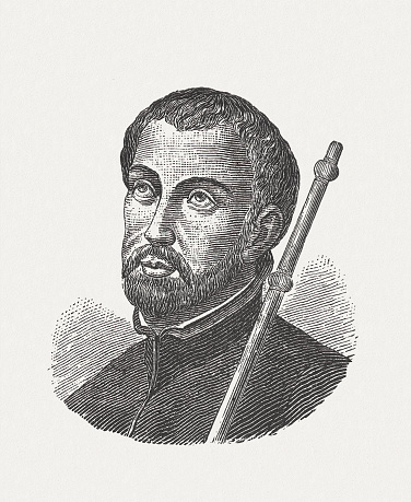 Francis Xavier (1506 - 1552) - Navarrese Catholic missionary and one of the pioneers of the Christian mission in Asia and co-founder of the Society of Jesus. Wood engraving, published in 1881.